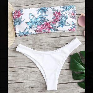 Flower Print Two Piece Bikini Set.
